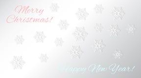 Διανυσματικά snowflakes υποβάθρου με τις επιγραφές Στοκ Φωτογραφίες