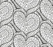 Διανυσματικές άνευ ραφής συρμένες χέρι καρδιές υποβάθρου Στοκ Εικόνες
