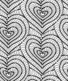Διανυσματικές άνευ ραφής συρμένες χέρι καρδιές υποβάθρου Στοκ Φωτογραφίες