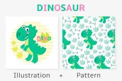 Διανυσματικές άνευ ραφής σχέδιο και απεικόνιση δεινοσαύρων Στοκ Εικόνα