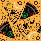 Διανυσματικές άνευ ραφής φέτες πιτσών σχεδίων Στοκ Εικόνα