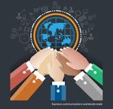 Διανυσματικές αγορές εμπορίου παγκοσμίως Συνεργαστείτε επιχειρηματίας απεικόνιση αποθεμάτων