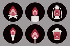 Διανυσματικές αιματηρές φλόγες απόκοσμων αποκριών στις διάφορες συσκευές Στοκ Εικόνα