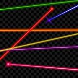 Διανυσματικές ακτίνες λέιζερ στο διαφανές υπόβαθρο καρό απεικόνιση αποθεμάτων