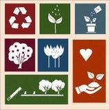 Διανυσματικές αναδρομικές ετικέτες με τα σημάδια οικολογίας Στοκ φωτογραφίες με δικαίωμα ελεύθερης χρήσης