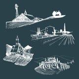 Διανυσματικές απεικονίσεις αγροτικών τοπίων καθορισμένες Σκίτσα της βίλας, αμπελώνας, αβαείο, γεωργικό αγροτικό σπίτι στα βουνά,  Στοκ φωτογραφίες με δικαίωμα ελεύθερης χρήσης