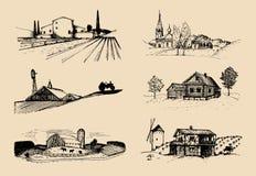 Διανυσματικές απεικονίσεις αγροτικών τοπίων καθορισμένες Σκίτσα της βίλας, αγροτικό σπίτι στους τομείς και τους λόφους Ρωσική επα Στοκ φωτογραφία με δικαίωμα ελεύθερης χρήσης