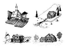 Διανυσματικές απεικονίσεις αγροτικών τοπίων καθορισμένες Σκίτσα του αμπελώνα, αβαείο, αγροτικό σπίτι στα βουνά, τους τομείς και τ Στοκ Εικόνα