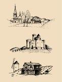 Διανυσματικές απεικονίσεις αγροτικών τοπίων καθορισμένες Σκίτσα του κάστρου, αγροτικό σπίτι στους τομείς και τους λόφους Ρωσική ε Στοκ φωτογραφία με δικαίωμα ελεύθερης χρήσης