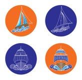 Διανυσματικές απεικονίσεις βαρκών και σκαφών πανιών Στοκ Εικόνες