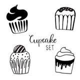 Διανυσματικές απεικονίσεις των γλυκών Σύνολο διαφορετικών ειδών cupcakes που διακοσμούνται με τις καραμέλες, τα φρούτα και την κρ διανυσματική απεικόνιση