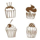 Διανυσματικές απεικονίσεις των γλυκών Σύνολο διαφορετικών ειδών cupcakes που διακοσμούνται με τις καραμέλες, τα φρούτα και την κρ ελεύθερη απεικόνιση δικαιώματος