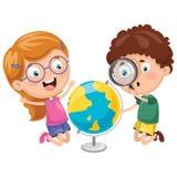 Διανυσματικές απεικονίσεις των παιδιών που έχουν το μάθημα γεωγραφίας ελεύθερη απεικόνιση δικαιώματος