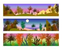Διανυσματικές απεικονίσεις χρώματος των τοπίων στα πορφυρά και ρόδινα χρώματα ελεύθερη απεικόνιση δικαιώματος