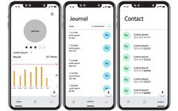 Διανυσματικές απεικονίσεις smartphone που χαρακτηρίζουν τις εφαρμογές ελεύθερη απεικόνιση δικαιώματος