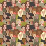Διανυσματικές απλές μινιμαλιστικές γυναίκες σε Pantone' χρώμα του s του άνευ ραφής υποβάθρου σχεδίων έτους διανυσματική απεικόνιση