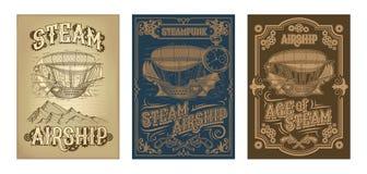 Διανυσματικές αφίσες steampunk με το φανταστικό ξύλινο πετώντας σκάφος απεικόνιση αποθεμάτων