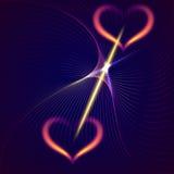 Διανυσματικές αφηρημένες καρδιές και ακτίνες φλογών σκούρο μπλε Στοκ εικόνες με δικαίωμα ελεύθερης χρήσης