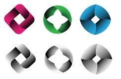 Διανυσματικές αφηρημένες μορφές, αφηρημένο σύνολο λογότυπων επιχειρήσεων και επιχειρήσεων τεχνολογίας Στοκ φωτογραφία με δικαίωμα ελεύθερης χρήσης