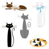 Διανυσματικές γάτες κινούμενων σχεδίων καθορισμένες Στοκ φωτογραφίες με δικαίωμα ελεύθερης χρήσης