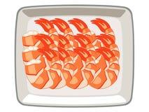 Διανυσματικές γαρίδες στο πιάτο στο άσπρο υπόβαθρο διανυσματική απεικόνιση
