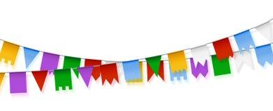 Διανυσματικές γιρλάντες Διακόσμηση διακοπών Σύνολο ζωηρόχρωμου garla εγγράφου διανυσματική απεικόνιση