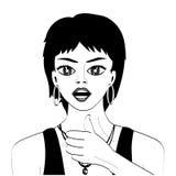 Διανυσματικές γραμμές Το κορίτσι παρουσιάζει χειρονομία τέλεια διανυσματική απεικόνιση