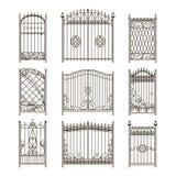 Διανυσματικές εικόνες των πορτών ή των πυλών σιδήρου με τους στροβίλους, σύνορα και άλλα διακοσμητικά στοιχεία απεικόνιση αποθεμάτων