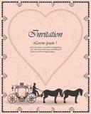 Διανυσματικές εκλεκτής ποιότητας γαμήλιες προσκλήσεις πολυτέλειας, το λεωφορείο και η μεταφορά της καρδιάς ως υπόβαθρο των καρτών Στοκ Φωτογραφία