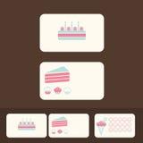 Διανυσματικές επαγγελματικές κάρτες κέικ, έκπτωση και προωθητικές κάρτες Στοκ Εικόνες