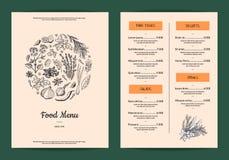 Διανυσματικές επιλογές εστιατορίων ή καφέδων με συρμένα τα χέρι χορτάρια και τα καρυκεύματα διανυσματική απεικόνιση