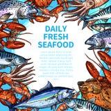 Διανυσματικές επιλογές για την αγορά θαλασσινών ή τροφίμων ψαριών Στοκ Εικόνες