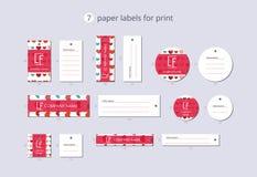 Διανυσματικές ετικέτες ιματισμού εγγράφου για την τυπωμένη ύλη με τις ζωηρόχρωμες καρδιές σχεδίων στοκ φωτογραφία με δικαίωμα ελεύθερης χρήσης