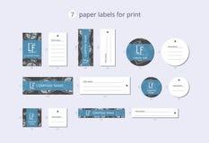Διανυσματικές ετικέτες ιματισμού εγγράφου για την τυπωμένη ύλη με το διακοσμητικό παρόν κιβώτιο σχεδίων στοκ φωτογραφίες με δικαίωμα ελεύθερης χρήσης
