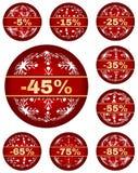 Διανυσματικές ετικέττες χειμερινής πώλησης με το κείμενο 5 - 85 τοις εκατό Στοκ εικόνες με δικαίωμα ελεύθερης χρήσης