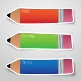 Διανυσματικές ζωηρόχρωμες αυτοκόλλητες ετικέττες επιλογών μολυβιών εγγράφου ή απεικόνιση αποθεμάτων