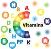 Διανυσματικές ζωηρόχρωμες βιταμίνες Στοκ εικόνες με δικαίωμα ελεύθερης χρήσης