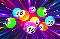 Διανυσματικές ζωηρόχρωμες σφαίρες bingo σε ένα σκοτεινό υπόβαθρο ελεύθερη απεικόνιση δικαιώματος