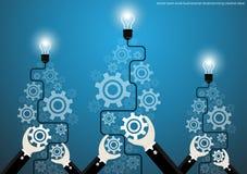 Διανυσματικές δημιουργικές ιδέες 'brainstorming' επιχειρηματιών με το επίπεδο σχέδιο βαραίνω εγκεφάλου βολβών Στοκ φωτογραφία με δικαίωμα ελεύθερης χρήσης