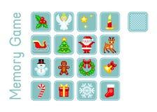 Διανυσματικές κάρτες για το παιχνίδι μνήμης με τα στοιχεία Χριστουγέννων στο ύφος εικονοκύτταρο-τέχνης Πολλαπλάσια επίπεδα παιχνι διανυσματική απεικόνιση
