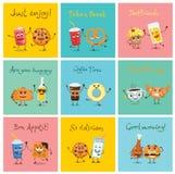 Διανυσματικές κάρτες με τους αστείους χαρακτήρες τροφίμων Απεικόνιση αποθεμάτων