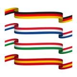 Διανυσματικές καθορισμένες κορδέλλες στα χρώματα της Γερμανίας, της Γαλλίας, της Ιταλίας και της Ισπανίας που απομονώνονται Στοκ Εικόνα