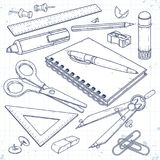 Διανυσματικές καθορισμένες προμήθειες γραφείων, χαρτικά για το σχολείο και το σπουδαστή στοκ εικόνα με δικαίωμα ελεύθερης χρήσης