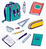 Διανυσματικές καθορισμένες σχολικές προμήθειες Στοκ Εικόνες