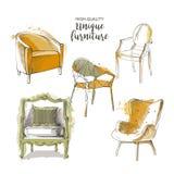 Διανυσματικές καρέκλες σκίτσων Στοκ Φωτογραφία