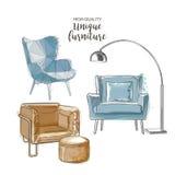 Διανυσματικές καρέκλες σκίτσων Στοκ Φωτογραφίες