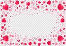 Διανυσματικές καρδιές πλαισίων Στοκ Εικόνες