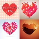 Διανυσματικές καρδιές βαλεντίνων καθορισμένες Στοκ Εικόνες