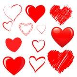 Διανυσματικές καρδιές καθορισμένες στοκ φωτογραφία