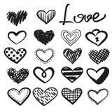 Διανυσματικές καρδιές Doodle καθορισμένες διανυσματική απεικόνιση